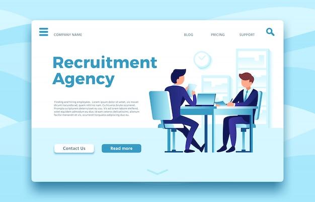 Agência de recrutamento. página de destino de emprego comercial, localização e contratação de modelo de site on-line de agências de funcionários Vetor Premium