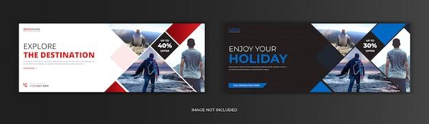 Agência de turismo de viagens mídia social postar página de capa do facebook linha do tempo online Vetor Premium