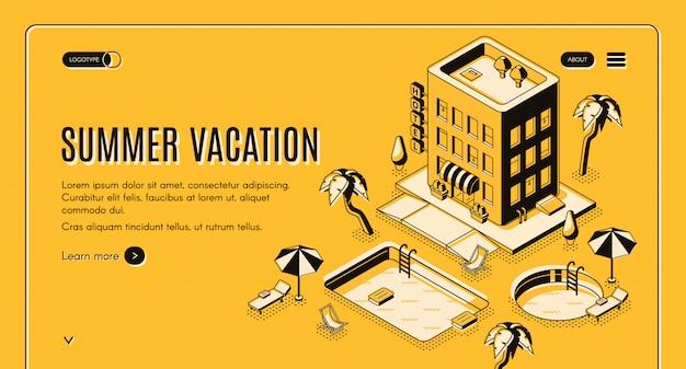 Agência de viagens, banner de web isométrica vector serviço on-line de reservas com cadeiras de praia sob o guarda-chuva Vetor grátis