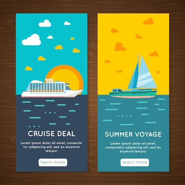 Agência de viagens de férias de verão exclusiva viagem marítima oferecer banners interativos Vetor grátis
