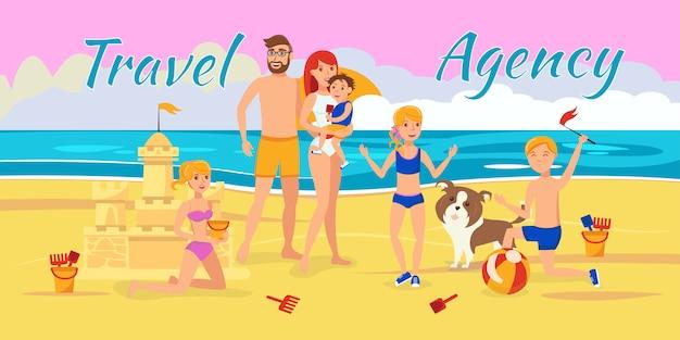 Agência de viagens ilustração vetorial com letras Vetor Premium