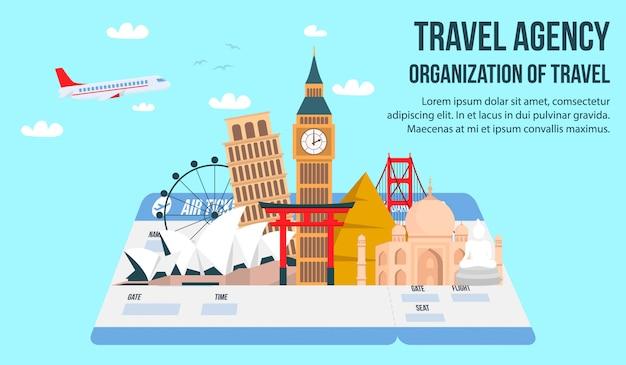 Agência de viagens plana banner com letras, texto. Vetor Premium