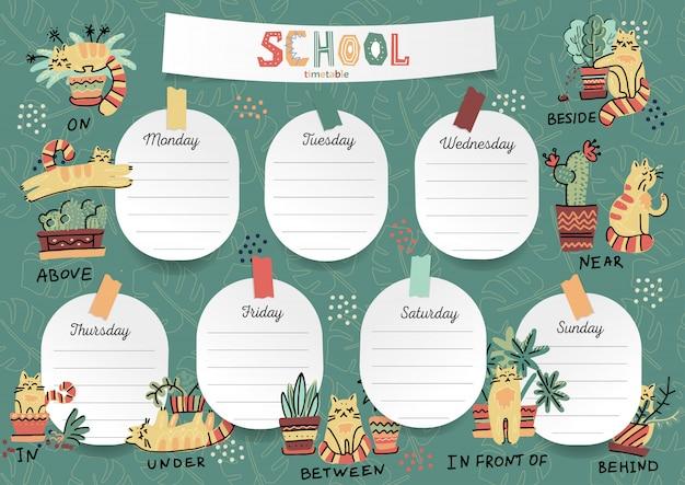 Agenda para o aluno nos adesivos de formulário com espaço para anotações Vetor Premium