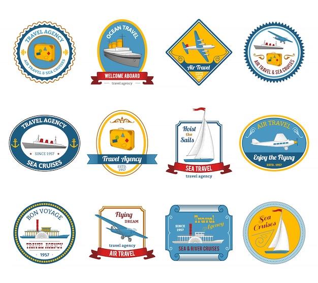 Agente de viagens de cruzeiros passeios com etiquetas coloridas Vetor grátis