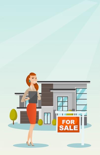 Agente imobiliário assinando contrato de compra de casa. Vetor Premium