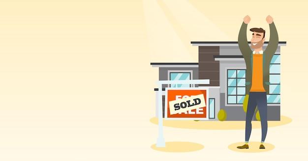 Agente imobiliário com letreiro vendido. Vetor Premium