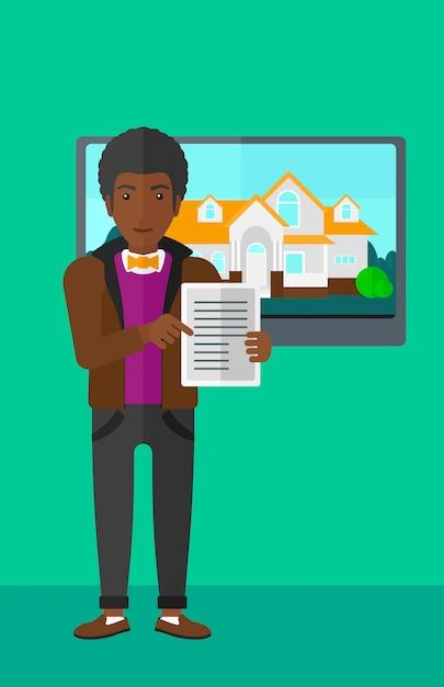 Agente imobiliário oferecendo casa. Vetor Premium
