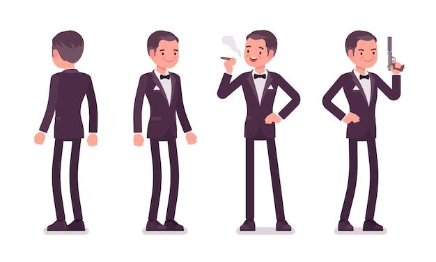 Agente secreto homem, cavalheiro espião de serviço de inteligência permanente Vetor Premium