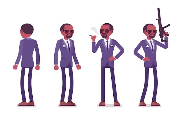 Agente secreto homem negro, espião cavalheiro do serviço de inteligência, observador para descobrir dados, coletar informações políticas e de negócios, cometer espionagem corporativa. ilustração dos desenhos animados do estilo Vetor Premium