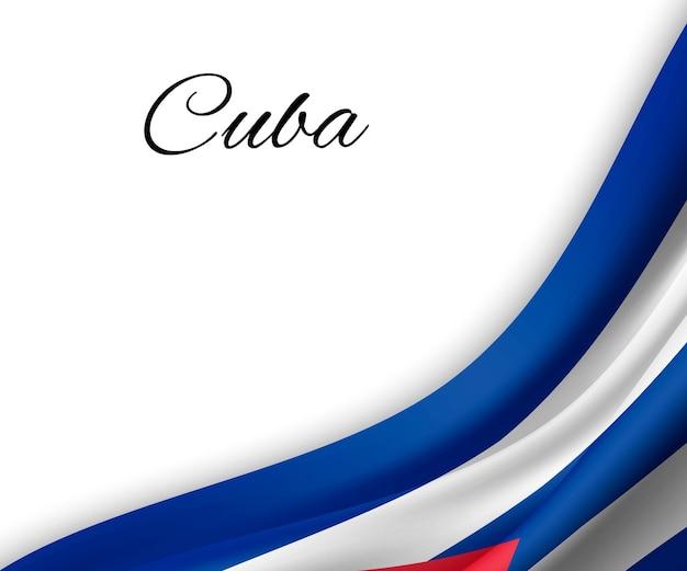 Agitando a bandeira de cuba em fundo branco. Vetor Premium