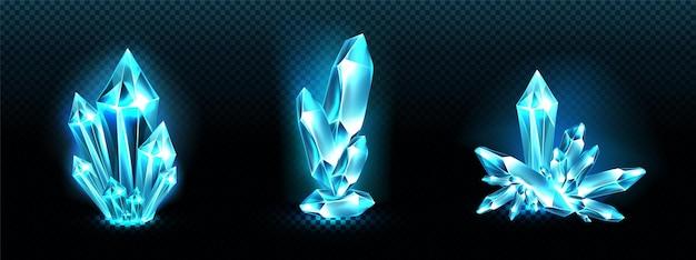 Aglomerados de cristal com aura de luz azul brilhante, quartzo ou mineral cristalino. Vetor grátis
