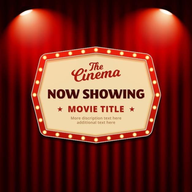 Agora mostrando o filme no design de cartaz de cinema. sinal de outdoor retrô com holofotes e fundo de cortina de teatro Vetor Premium