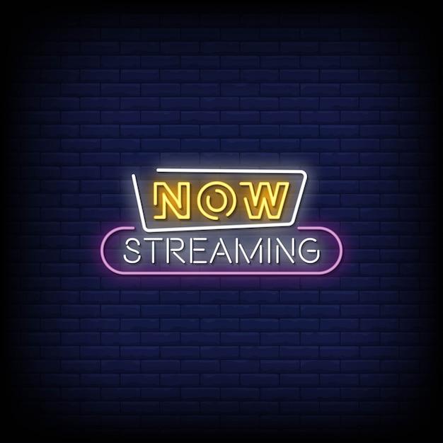 Agora, streaming de sinais de néon estilo texto Vetor Premium
