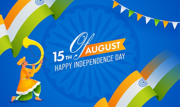 Agosto feliz dia da independência texto com fita ondulada da bandeira indiana e homem soprando chifre de tutari no fundo azul da roda de ashoka Vetor Premium