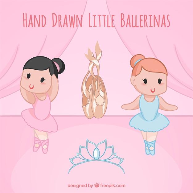 Agradáveis bailarinas pequenas esboçado com sapatos Vetor grátis