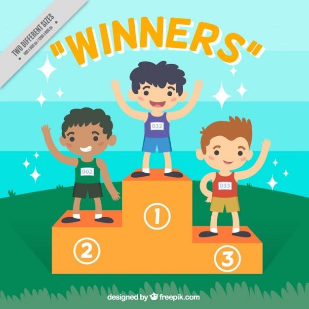 Agradáveis vencedores crianças Vetor grátis