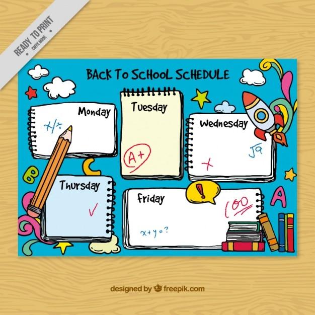 Agradável horário escolar desenhada à mão Vetor grátis