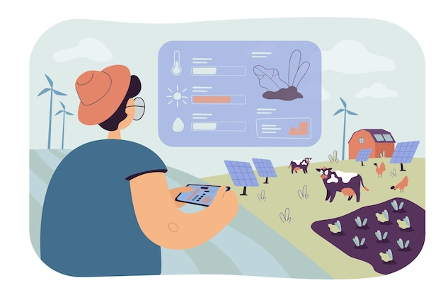 Agricultor analisando dados sobre ilustração plana isolada de agricultura ecológica Vetor grátis