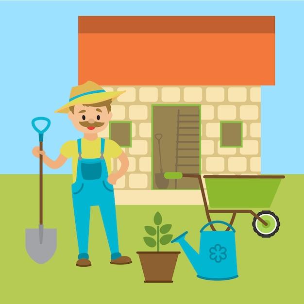 Agricultor com pá ou jardineiro. Vetor Premium