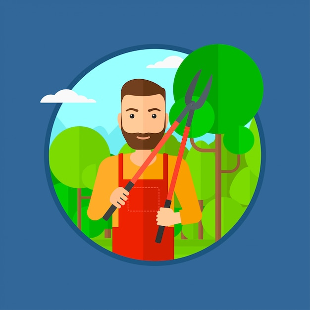 Agricultor com poda no jardim. Vetor Premium