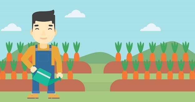 Agricultor com regador Vetor Premium