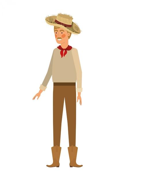 Agricultor de homem com chapéu de palha Vetor Premium