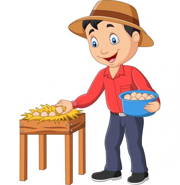 Agricultor dos desenhos animados segurando uma cesta de ovos em um fundo branco Vetor Premium