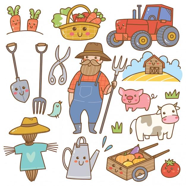 Agricultor, e, agricultura, equipamento, kawaii, doodles Vetor Premium