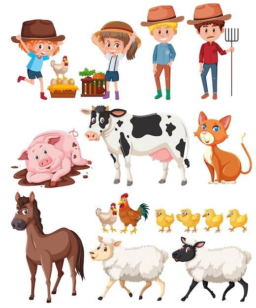 Agricultor e animais no fundo branco Vetor Premium