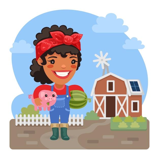 Agricultor feminino dos desenhos animados com um porquinho Vetor Premium