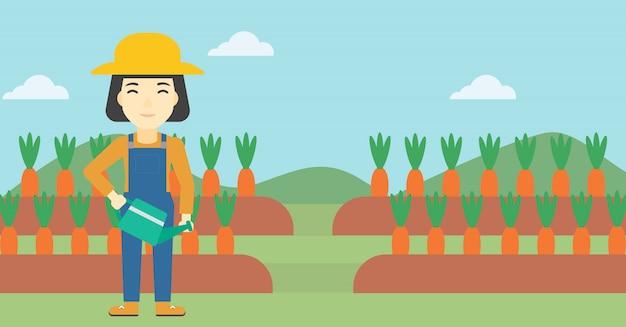 Agricultor feminino e regador Vetor Premium