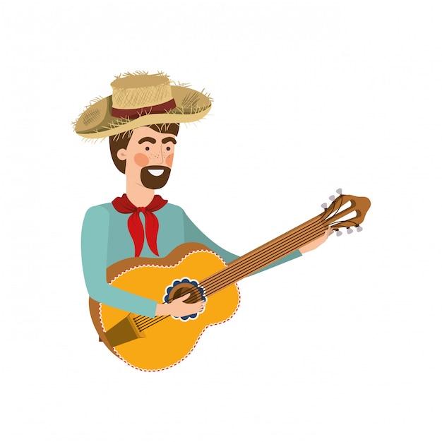 Agricultor homem com instrumento musical Vetor Premium
