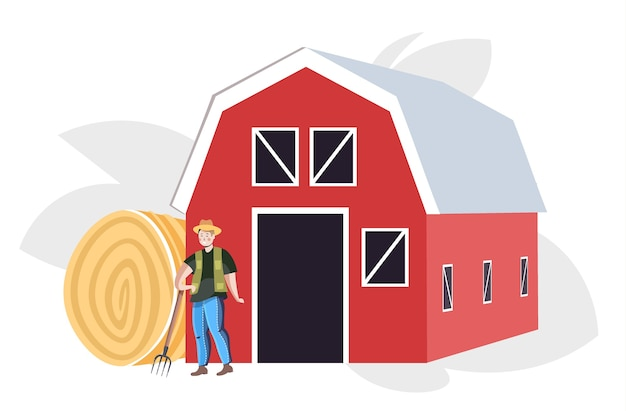 Agricultor masculino uniformizado, coletando feno conceito de agricultura ecológica Vetor Premium