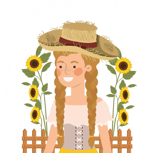 Agricultor mulher com chapéu de palha e girassóis Vetor Premium