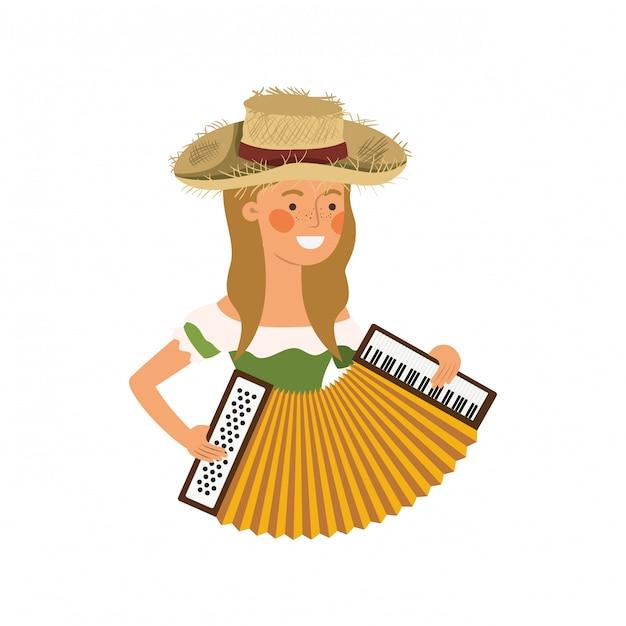 Agricultor mulher com instrumento musical Vetor Premium