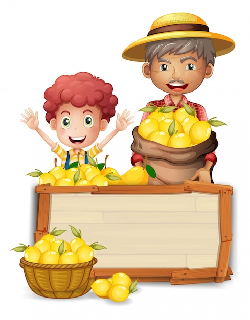 Agricultor, segurando, limão, ligado, tábua madeira Vetor Premium