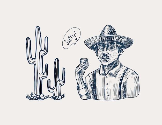 Agricultor segurando uma dose de tequila. homem mexicano com chapéu e cacto. poster retro ou banner. esboço vintage desenhado mão gravada. estilo xilogravura. Vetor Premium
