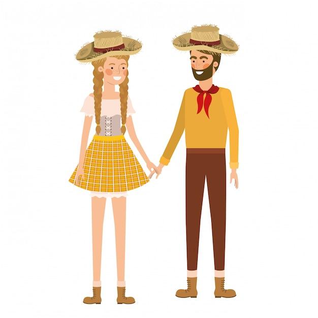 Agricultores casal conversando com chapéu de palha Vetor Premium