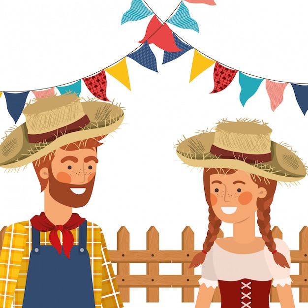 Agricultores casal conversando com chapéu de palha Vetor grátis