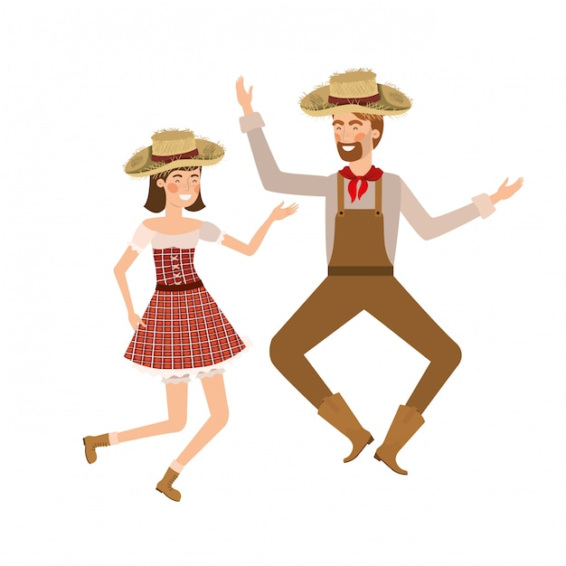 Agricultores casal dançando com chapéu de palha Vetor Premium
