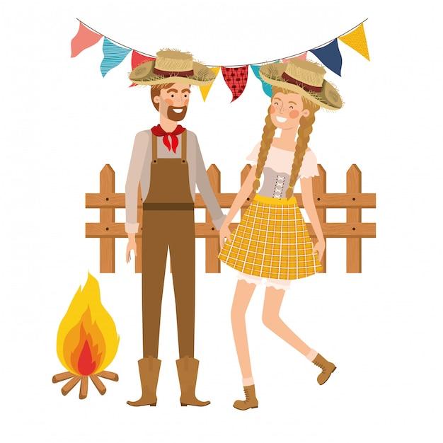 Agricultores casal dançando com chapéu de palha Vetor grátis