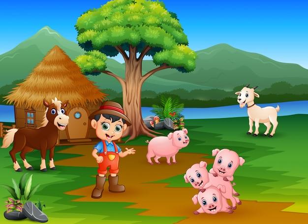 Agricultores e animais de fazenda fora da jaula Vetor Premium