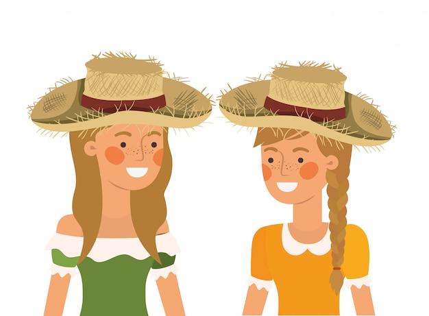 Agricultores mulheres falando com chapéu de palha Vetor Premium