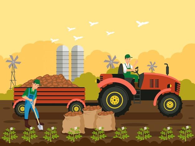 Agricultores, plantando batatas ilustração vetorial Vetor Premium
