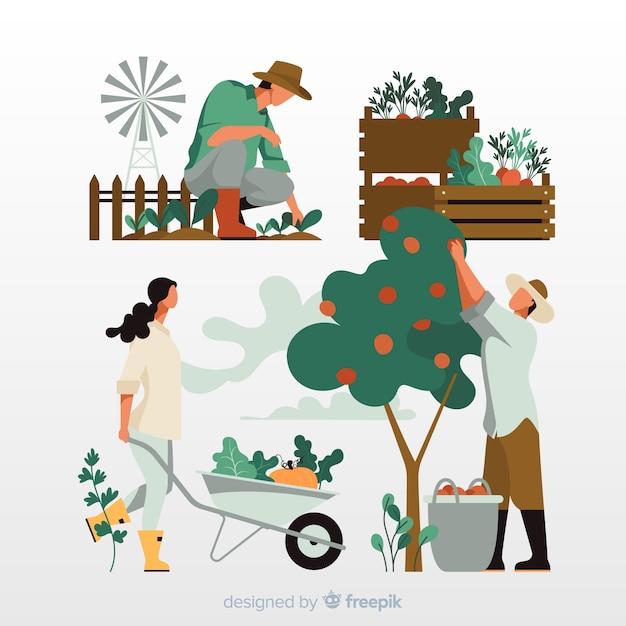 Agricultura de ilustração do conceito trabalhando Vetor grátis