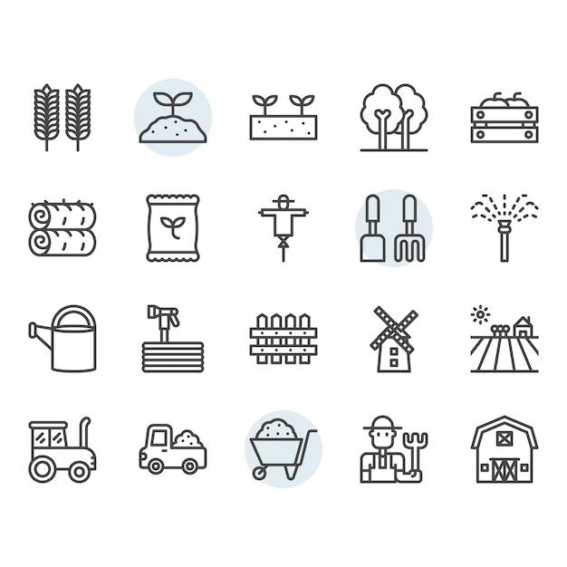Agricultura e ícone e símbolo definido no contorno Vetor Premium