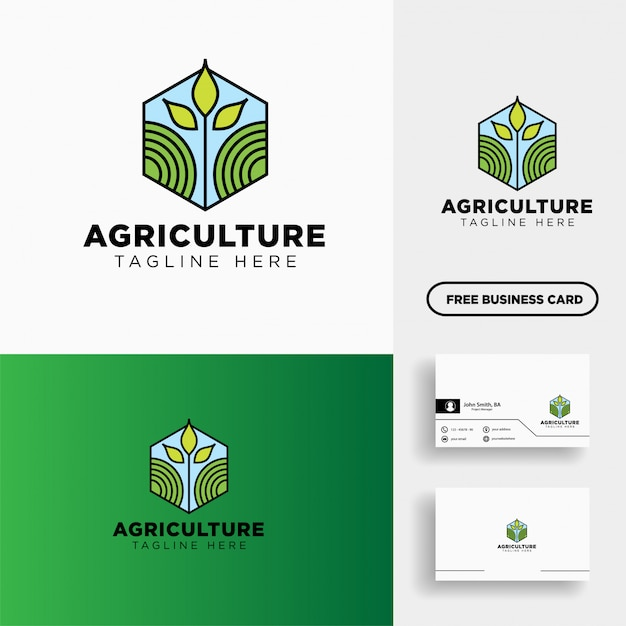 Agricultura eco linha verde arte logotipo modelo ícone elemento Vetor Premium