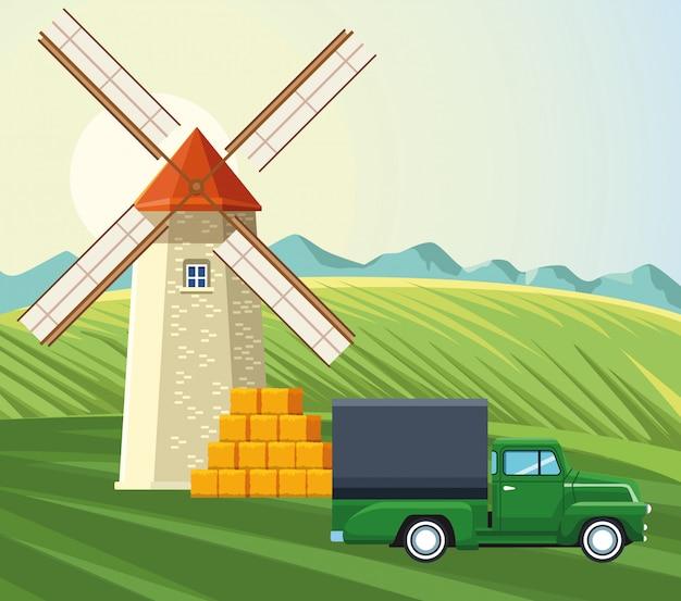 Agricultura moinho de vento caminhão fardos de feno na grama Vetor Premium