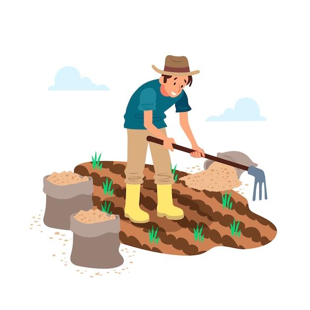 Agricultura orgânica com homem no campo Vetor grátis