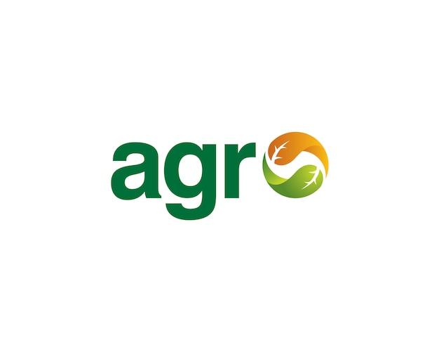Agro wordmark com folhas equilibradas Vetor Premium